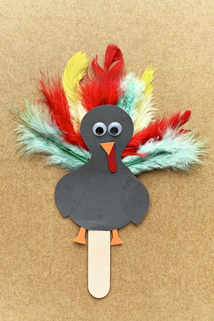 Adorable Popsicle Stick Turkey Craft