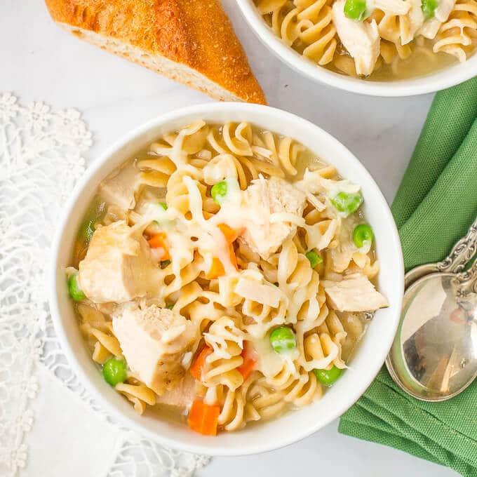 15-minute easy turkey noodle soup