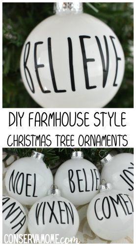 DIY Farmhouse Style Christmas Tree ornaments