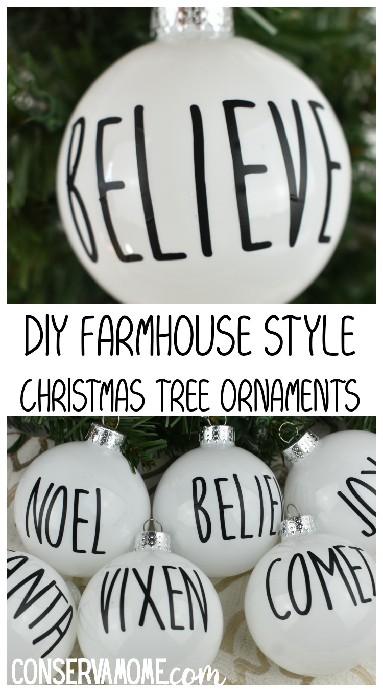 DIY Farmhouse Style Christmas Tree ornaments