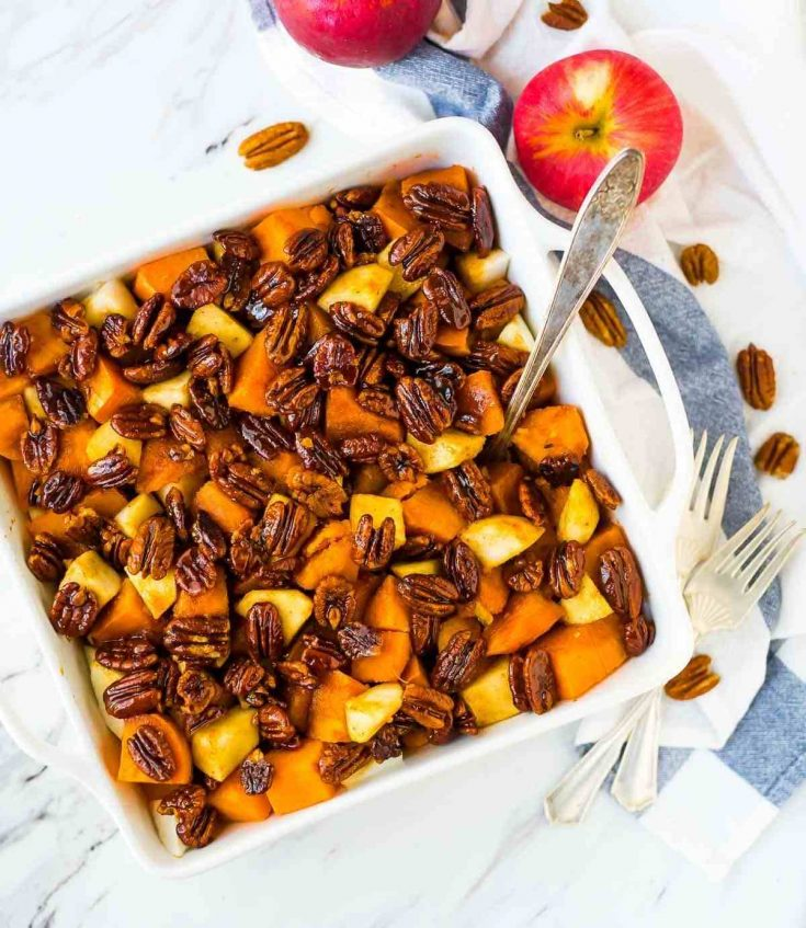 Glazed Sweet Potatoes with Honey Whiskey Pecans