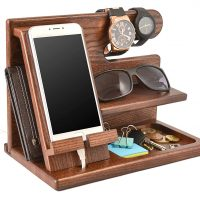 Wood Phone Docking Station Ash Key Holder Wallet Stand Watch Organizer
