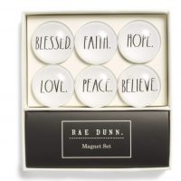 Rae Dunn 6 Piece Glass-Dome Magnet Set Blessed, Faith, Hope, Love, Peace, Believe