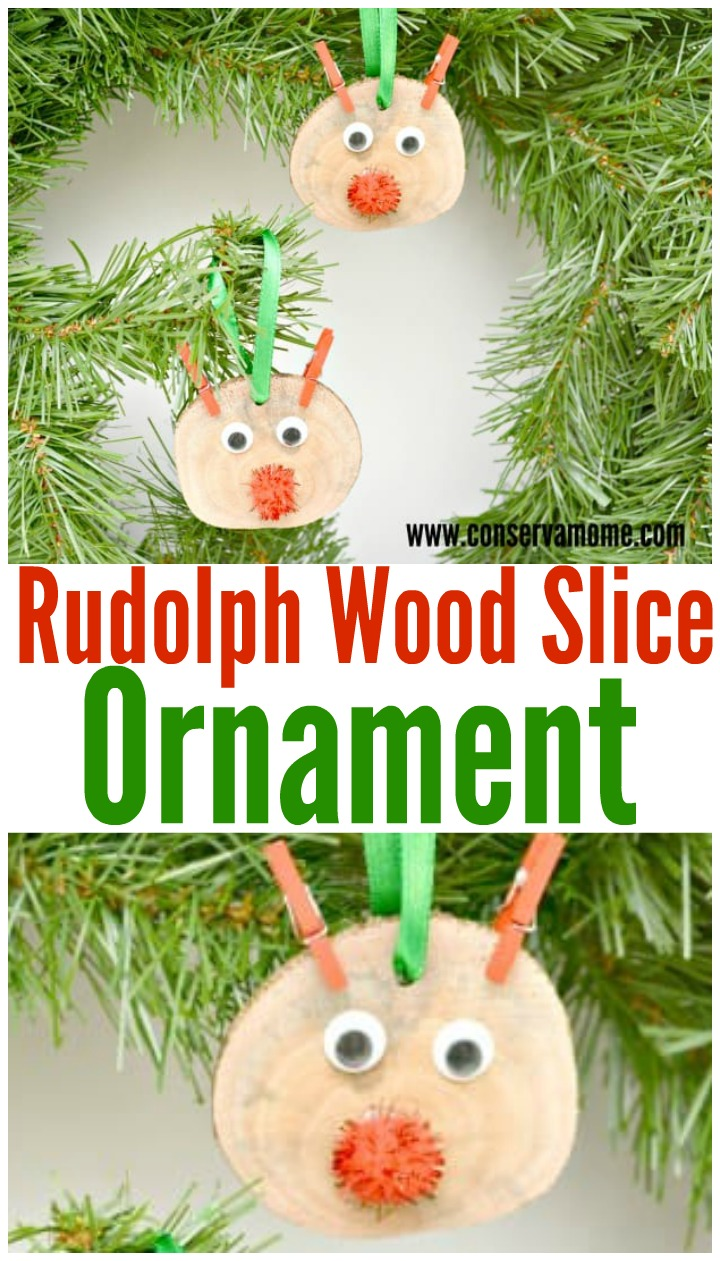 Rudolph wood slice ornament