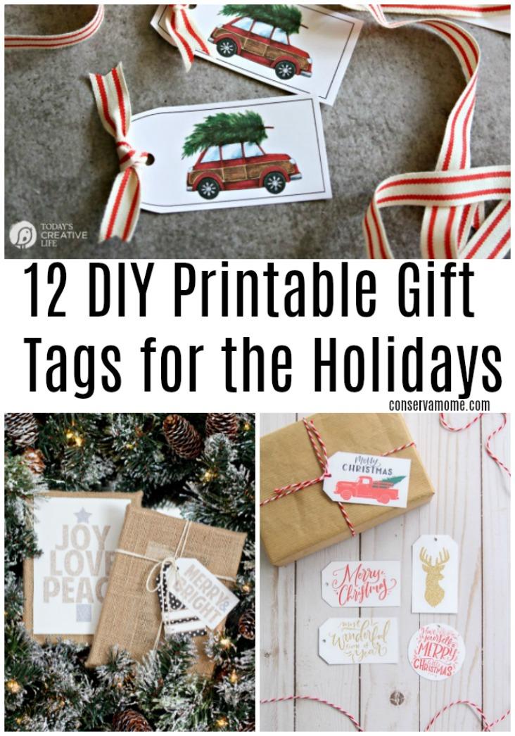 12 DIY Printable Gift Tags for the Holidays