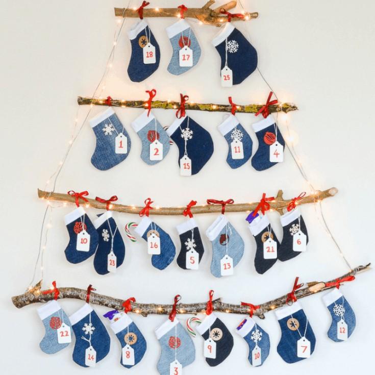 Denim DIY Mini Stocking Advent Calendar, Reusable Advent Calendar · vicky myers creations
