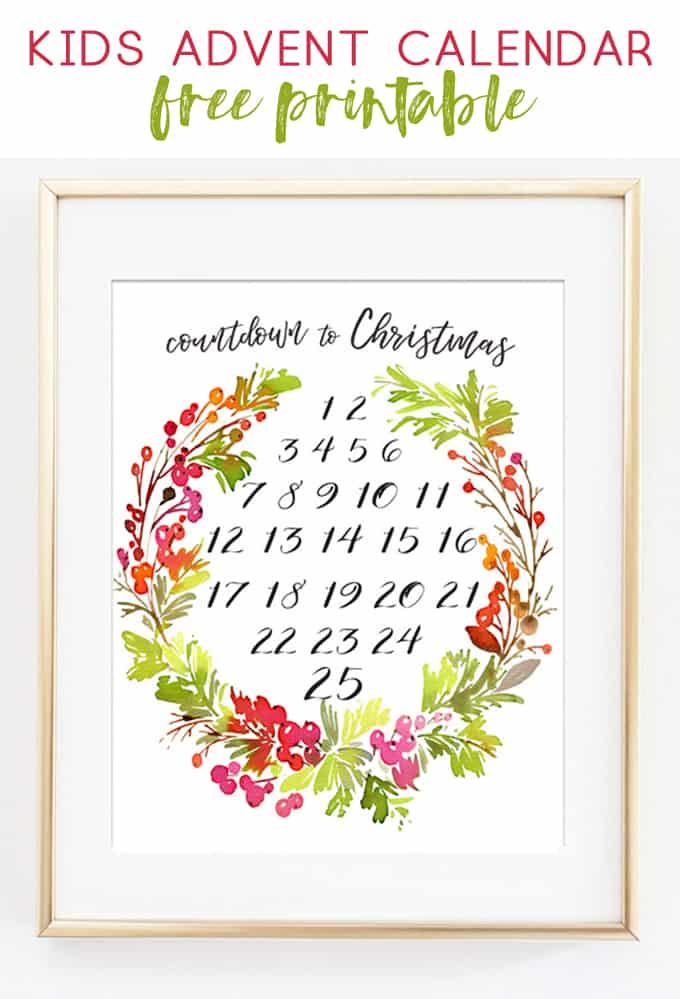 Kids Advent Calendar Free Printable