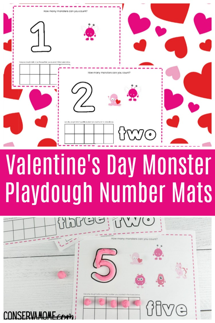 Valentine's Day Number playdough mat