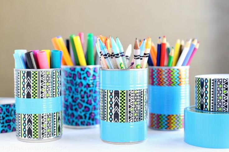 DIY Duck Tape Pencil Holder & Art Organizer