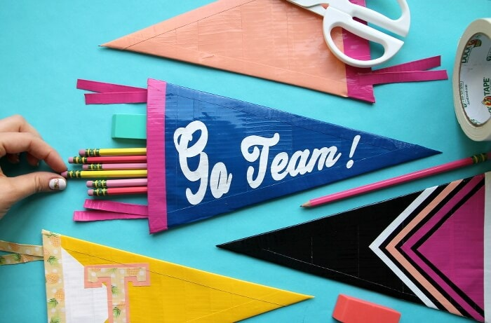 DIY Duck Tape Pennant Pencil Pouch - Persia Lou