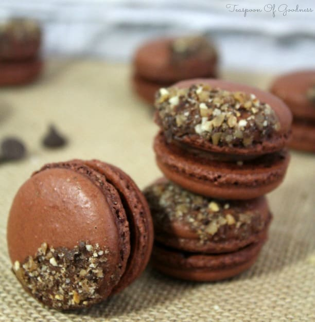 Chocolate French Macarons with Toffee