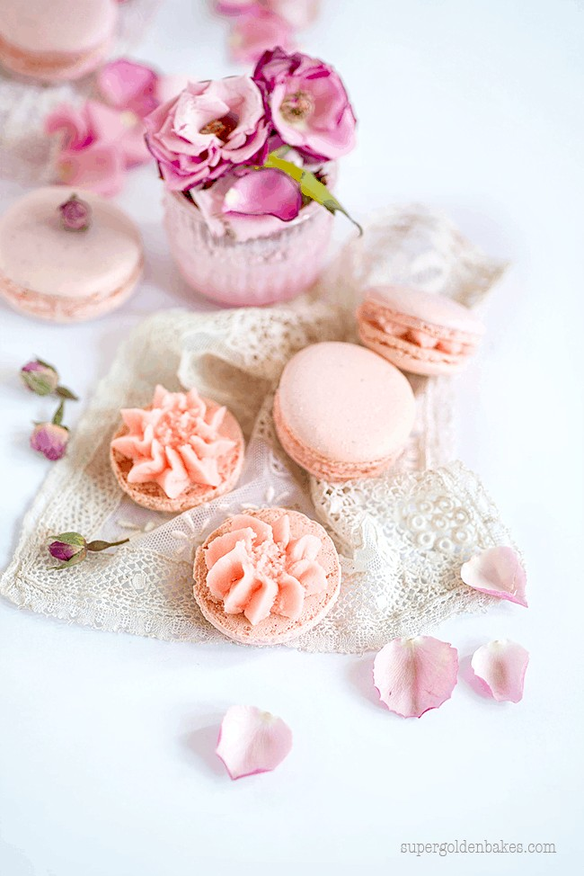 Rose Macarons and a giveaway - Supergolden Bakes
