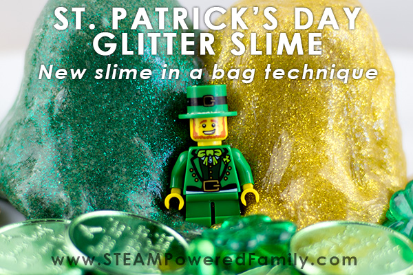 St. Patrick's Day Slime - slime in a bag technique