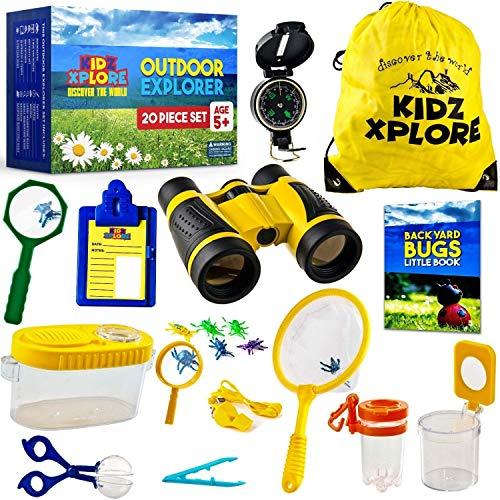 Kidz Xplore Outdoor Explorer Set 20 pc - Nature Exploration Kit Children Outdoor Games Mini Binoculars Kids, Compass, Whistle, Magnifying Glass, Bug Catcher, Adventure, Fishing, Hiking Educational Toy
