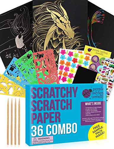 Purple Ladybug Scratch Paper Art Set for Kids! Variety Pack With 36 Full Sized Sheets, 3 Unique Colors: Rainbow, Gold, Silver + Stencils! Great as Gift, Kids Art Supplies, & for Fun DIY Easter Crafts!