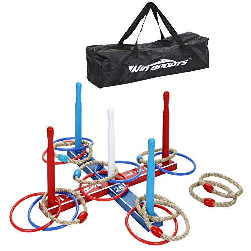 Premium Wooden Ring Toss Game Set – Throwing Game Indoor Outdoor Games for Kids & Adults – Includes Wood Base,8 Ropes and 8 Plastic Rings,Carry Bag & Instruction – Fun Family or Friends Game