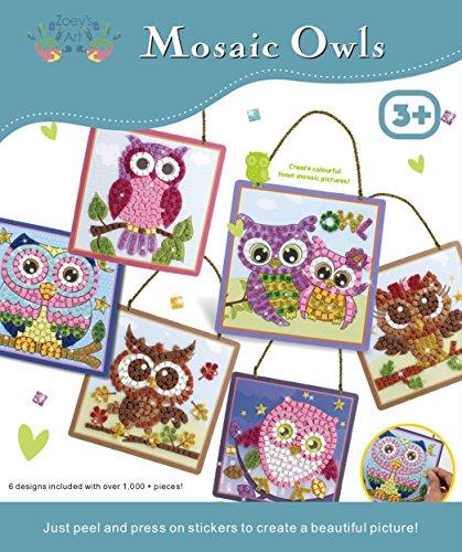 Mosaic Owls Art and Craft Sticky Mosaic Kit for Kids, Fun Sticker Art, Children Craft Activities ages 3-8