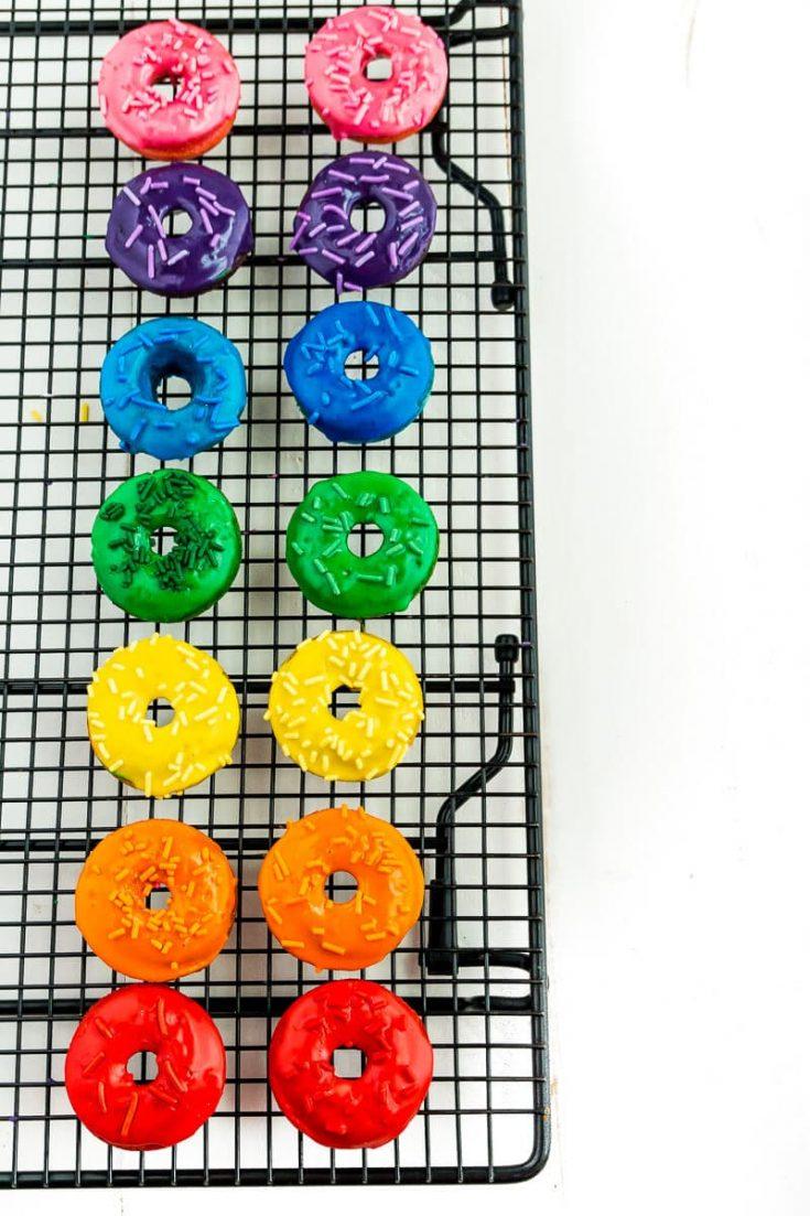 Easy Rainbow Donuts