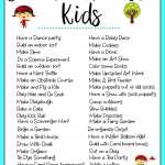 Printable List of Screen Free Activities for kids