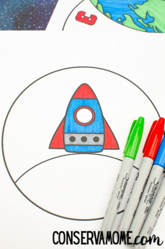 Printable Space Spinner Craft , Outer Space Craft for Kids