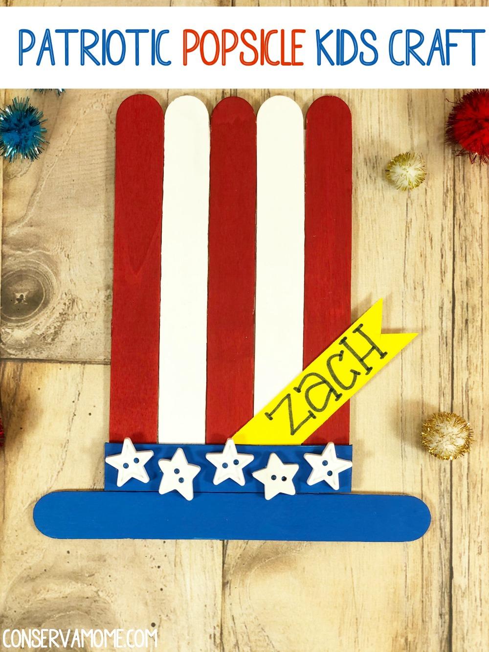 Patriotic Popsicle Kids craft