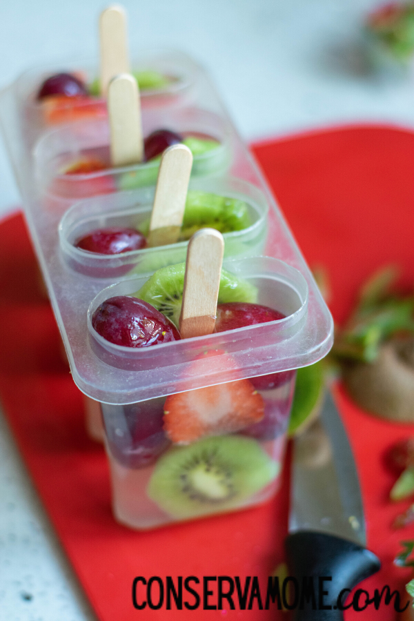 Fruit Popsicles made with Coconut Water