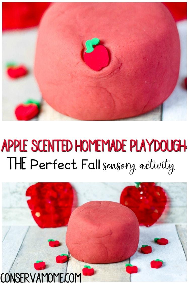 Apple Scented Homemade playdough_ A fall sensory activity for kids!