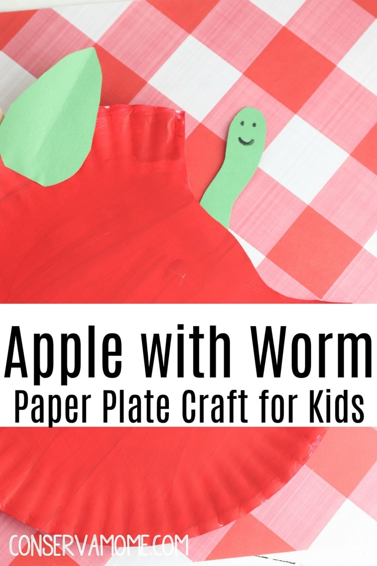 Apple with Worm Paper Plate Craft for Kids