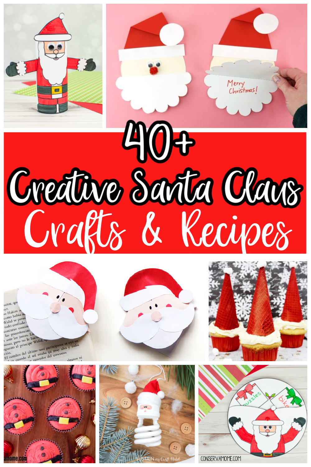 If you love Santa Claus like we do then you've come to the right place. I've put together over a fun round up of Fun & Creative Santa Claus Crafts & Recipes. These are the perfect activities to celebrate everything Father Christmas.  Keep reading to check out over 40 Santa Claus Activities for your kids!