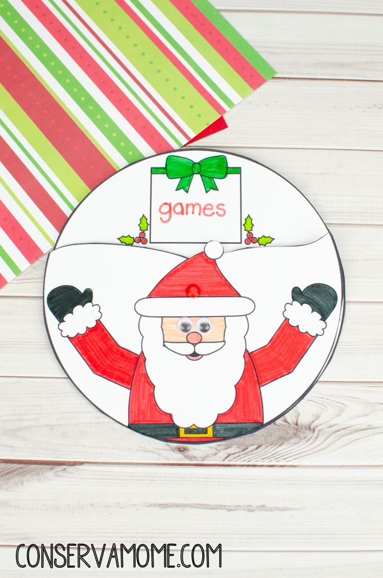Santa Claus Spinner Craft : An Easy Christmas Craft For Kids