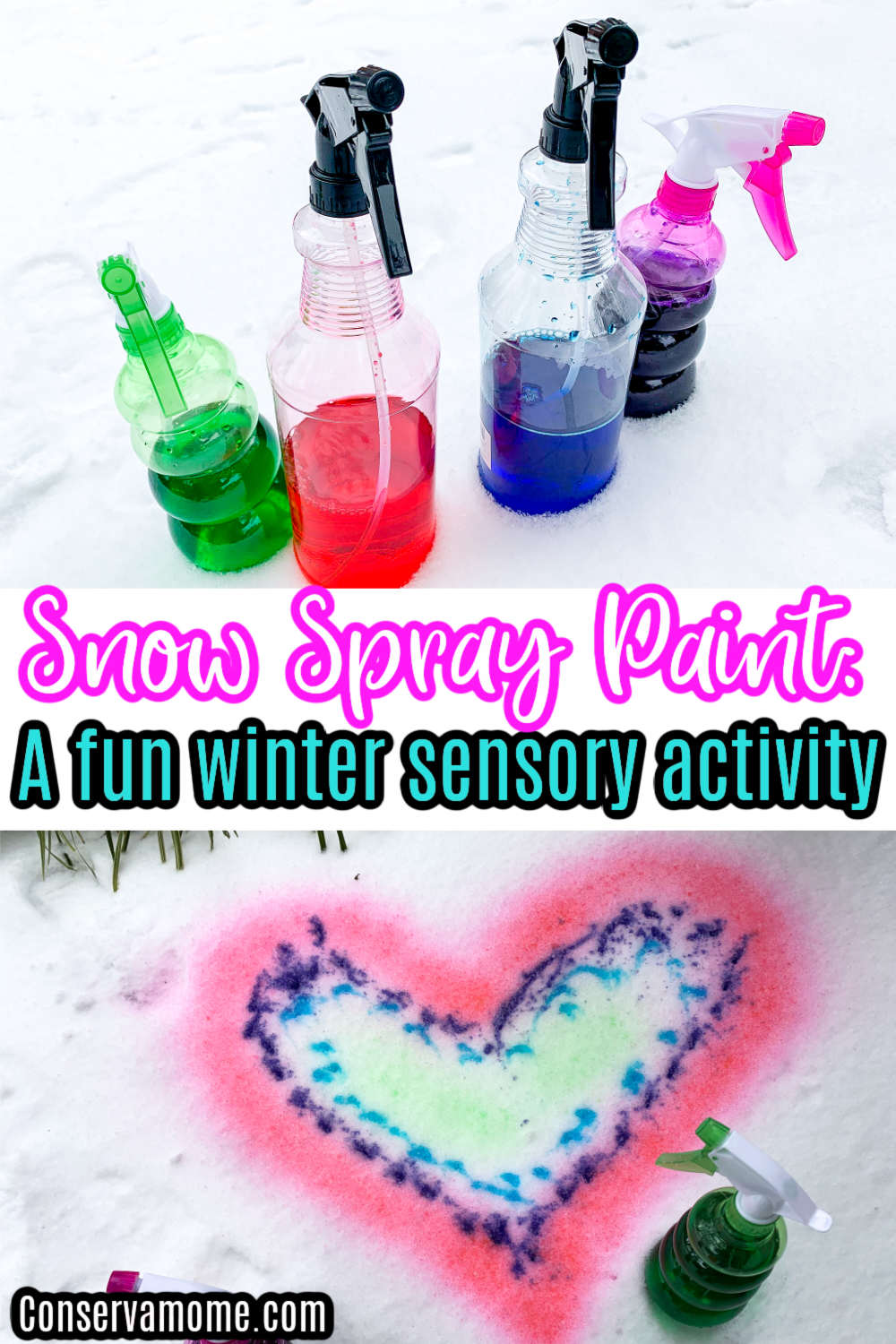 Snow spray paint: A Fun winter sensory activity