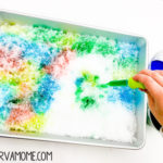 Snow painting Snow sensory bin