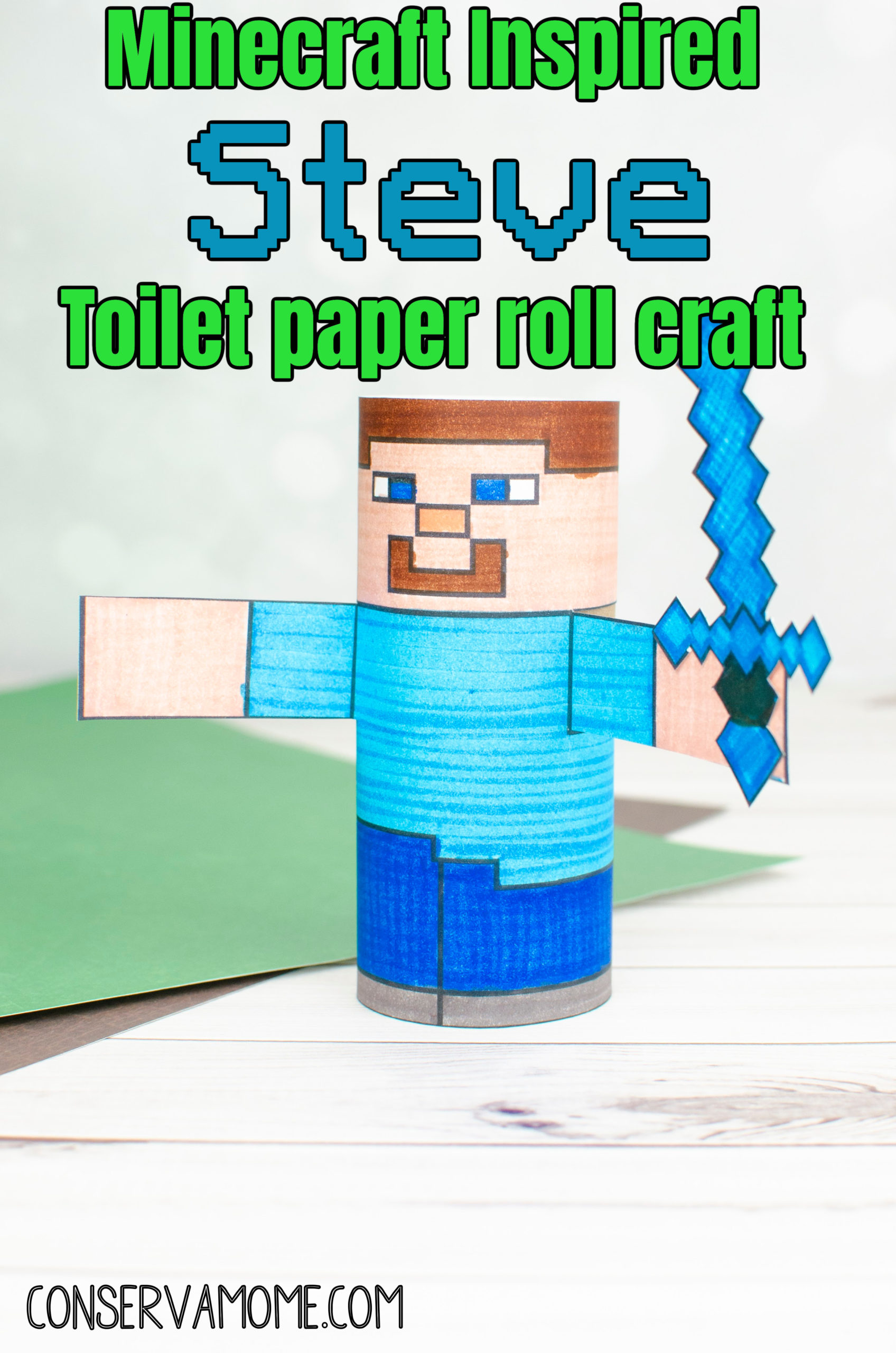 DIY Minecraft Steve Toilet paper roll craft
