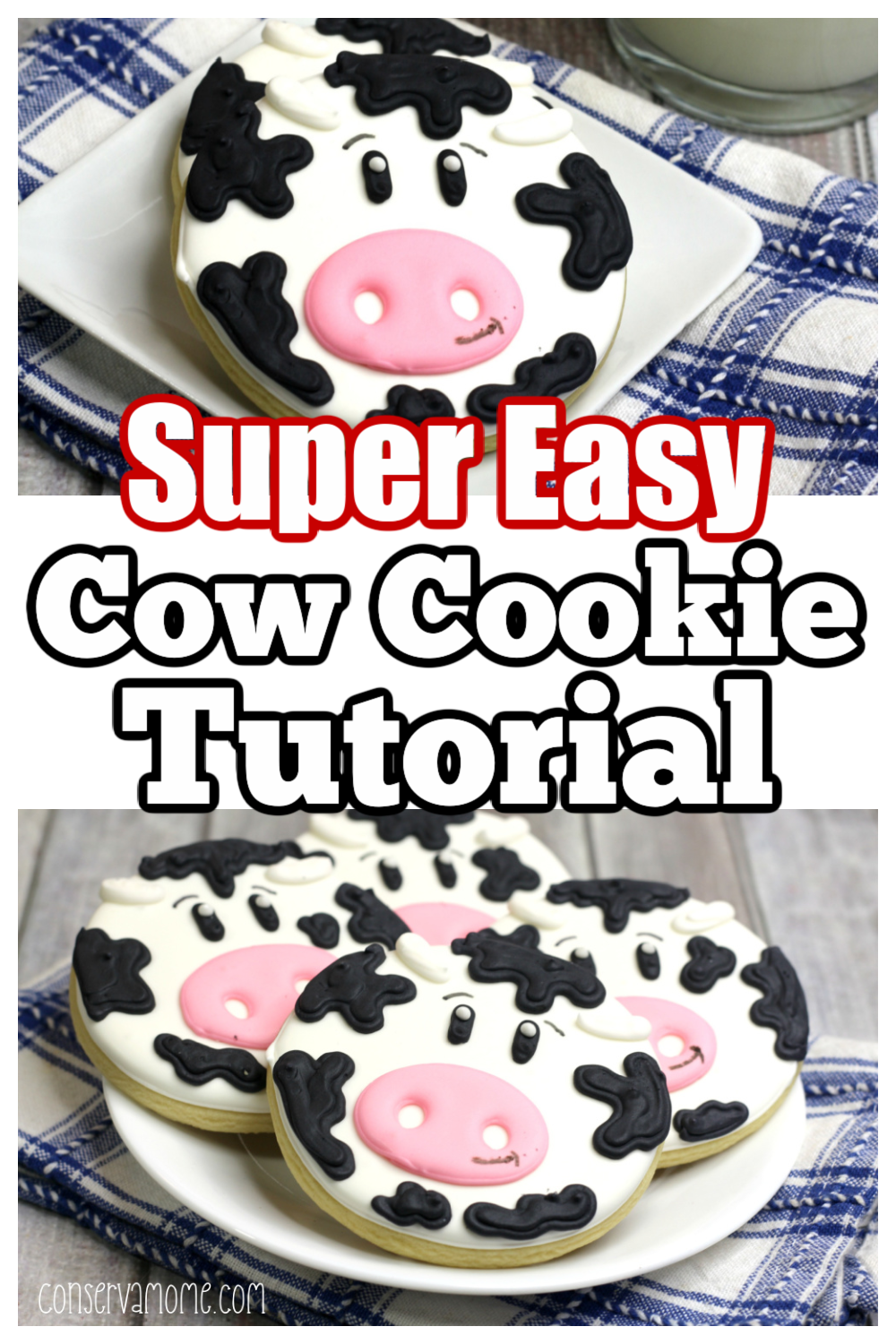 Super Easy Cow cookie tutorial