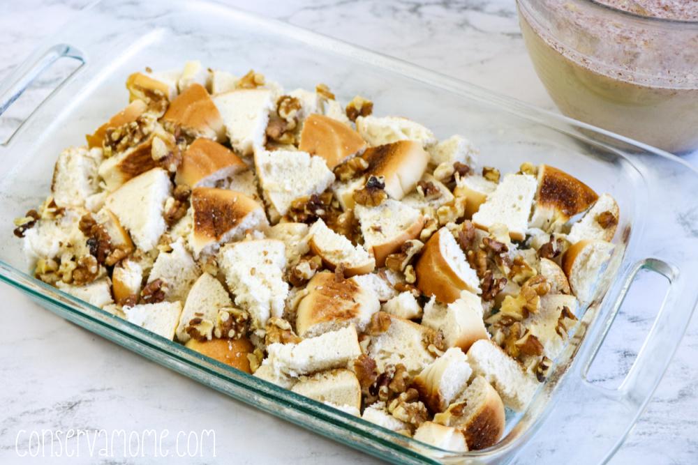 Banana Bread Bagel French toast casserole