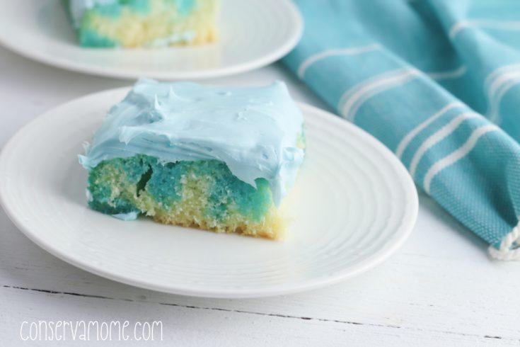 Ocean Water Poke Cake
