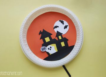 Halloween Haunted house paper plate craft